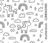 cute seamless unicorn pattern... | Shutterstock .eps vector #1288063480