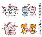 couple animals set ... | Shutterstock .eps vector #1288063489