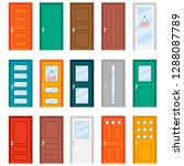 colorful front doors to houses...   Shutterstock .eps vector #1288087789