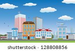 the row of houses. vector... | Shutterstock .eps vector #128808856