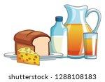 orange juice and bread | Shutterstock .eps vector #1288108183