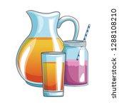 orange juice and smoothie | Shutterstock .eps vector #1288108210