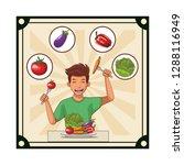 man healthy food | Shutterstock .eps vector #1288116949