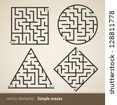set of four perfect maze | Shutterstock .eps vector #128811778