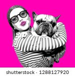 the poster with young woman and ... | Shutterstock . vector #1288127920