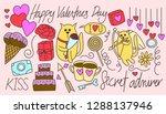 valentines day cat doodle  | Shutterstock .eps vector #1288137946