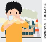 polluting air from factory pipe ... | Shutterstock .eps vector #1288166413