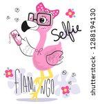 beautiful flamingo cartoon... | Shutterstock .eps vector #1288194130