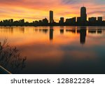 Stock photo boston skyline winter sunrise 128822284