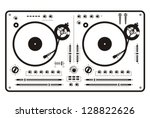 dj double scratch turntable | Shutterstock .eps vector #128822626
