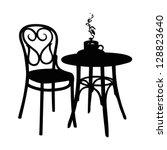 vector street cafe  silhouette... | Shutterstock .eps vector #128823640