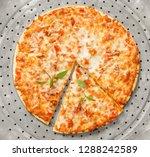 freshly baked margherita pizza...   Shutterstock . vector #1288242589