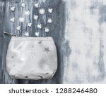 silver purse and glass beads on ...   Shutterstock . vector #1288246480