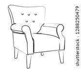 armchair contour vector...   Shutterstock .eps vector #1288250479
