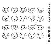 funny cat emoji vector set | Shutterstock .eps vector #1288252696