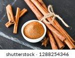 Cinnamon Sticks Spices On Dark...
