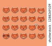 funny red cat emoji vector set | Shutterstock .eps vector #1288269109