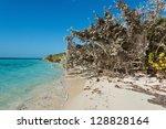 White sand beach, Coco Cay, Bahamas - stock photo
