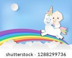 paper art of baby boy riding...   Shutterstock .eps vector #1288299736