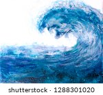 painting of a blue wave ... | Shutterstock . vector #1288301020