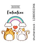 be my valentine greeting  cats... | Shutterstock .eps vector #1288302346