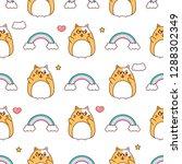 cool cat pattern  kawaii... | Shutterstock .eps vector #1288302349