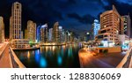 dubai marina at night  with the ... | Shutterstock . vector #1288306069
