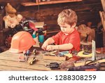 toddler on busy face plays with ... | Shutterstock . vector #1288308259