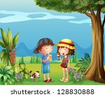 illustration of a boy and a girl | Shutterstock .eps vector #128830888