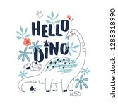 cute dinosaur hand drawn summer ... | Shutterstock .eps vector #1288318990