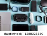 background of modern gadgets on ... | Shutterstock . vector #1288328860