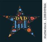 dad super hero doodle quote in... | Shutterstock .eps vector #1288349866