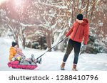 young happy family of dad and... | Shutterstock . vector #1288410796