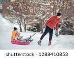 young happy family of dad and... | Shutterstock . vector #1288410853