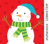 snowman christmas greeting card ... | Shutterstock .eps vector #1288417339