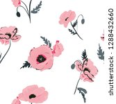 seamless pattern with  poppy... | Shutterstock .eps vector #1288432660