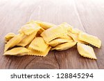 heap of raw raviolis | Shutterstock . vector #128845294