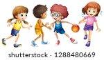 children playing basketball on... | Shutterstock .eps vector #1288480669