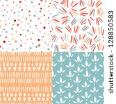 set of 4 doodle abstract... | Shutterstock .eps vector #128850583