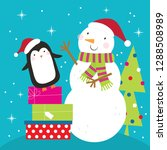 happy penguin and snowman... | Shutterstock .eps vector #1288508989