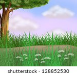 illustration of grasses along... | Shutterstock . vector #128852530