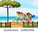 illustration of happy kids and... | Shutterstock . vector #128852968