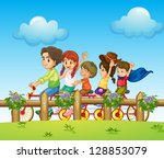 illustration of children riding ... | Shutterstock . vector #128853079
