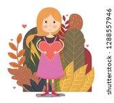 cute girl with love clip art...   Shutterstock .eps vector #1288557946