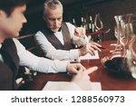 experienced sommelier makes... | Shutterstock . vector #1288560973