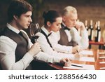 experienced sommelier explores... | Shutterstock . vector #1288566430