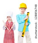 cute boy in hardhat with level...   Shutterstock . vector #128856748