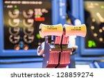 throttle of an homemade cockpit ... | Shutterstock . vector #128859274