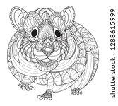 Stock vector zenta hamster hand drawn doodle zentangle hamsters illustration decorative ornate vector hamsters 1288615999