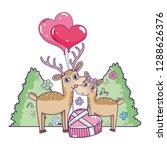 cute love reindeer couple with... | Shutterstock .eps vector #1288626376